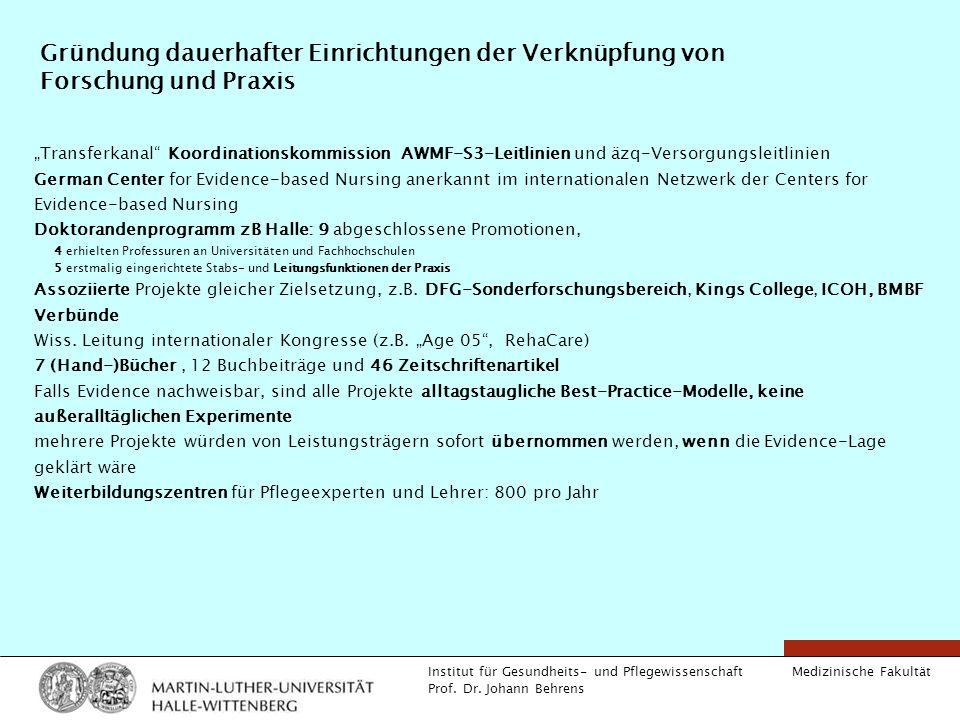 Medizinische Fakultät Institut für Gesundheits- und Pflegewissenschaft Prof. Dr. Johann Behrens Gründung dauerhafter Einrichtungen der Verknüpfung von