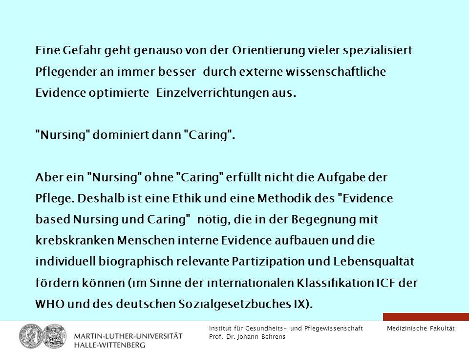 Medizinische Fakultät Institut für Gesundheits- und Pflegewissenschaft Prof. Dr. Johann Behrens Eine Gefahr geht genauso von der Orientierung vieler s