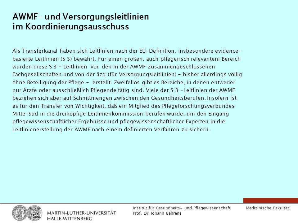 Medizinische Fakultät Institut für Gesundheits- und Pflegewissenschaft Prof. Dr. Johann Behrens AWMF- und Versorgungsleitlinien im Koordinierungsaussc