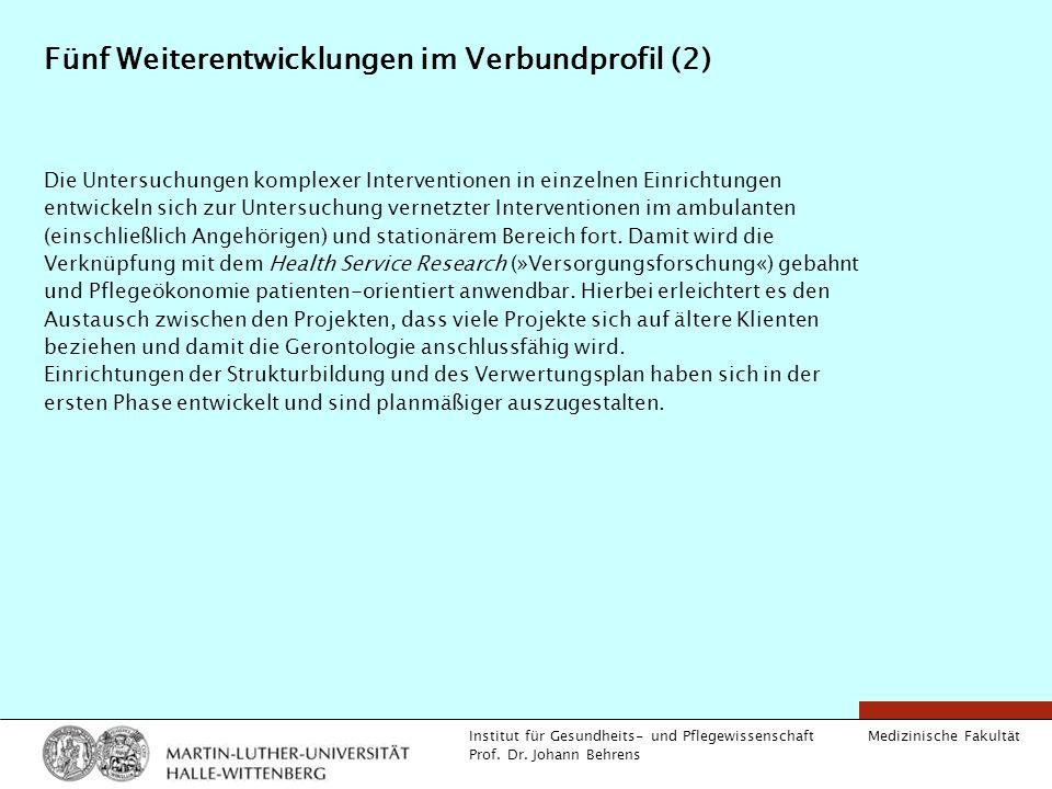 Medizinische Fakultät Institut für Gesundheits- und Pflegewissenschaft Prof. Dr. Johann Behrens Fünf Weiterentwicklungen im Verbundprofil (2) Die Unte