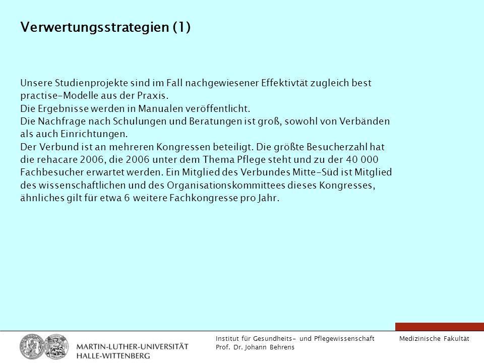 Medizinische Fakultät Institut für Gesundheits- und Pflegewissenschaft Prof. Dr. Johann Behrens Verwertungsstrategien (1) Unsere Studienprojekte sind