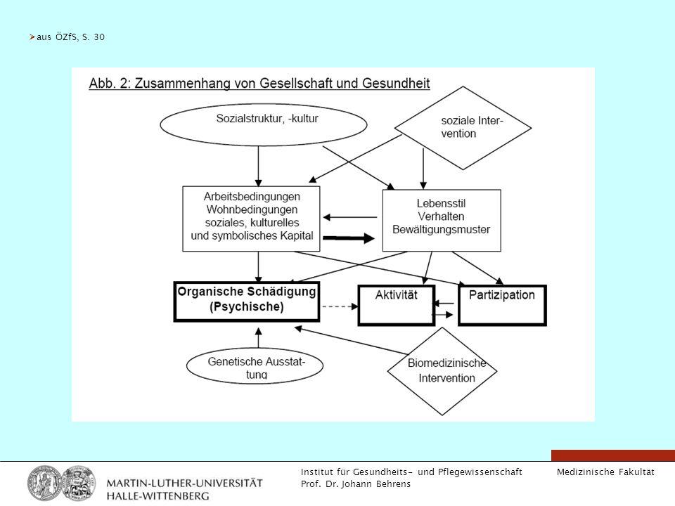 Medizinische Fakultät Institut für Gesundheits- und Pflegewissenschaft Prof. Dr. Johann Behrens aus ÖZfS, S. 30