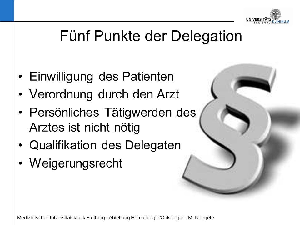 Medizinische Universitätsklinik Freiburg - Abteilung Hämatologie/Onkologie – M. Naegele Fünf Punkte der Delegation Einwilligung des Patienten Verordnu