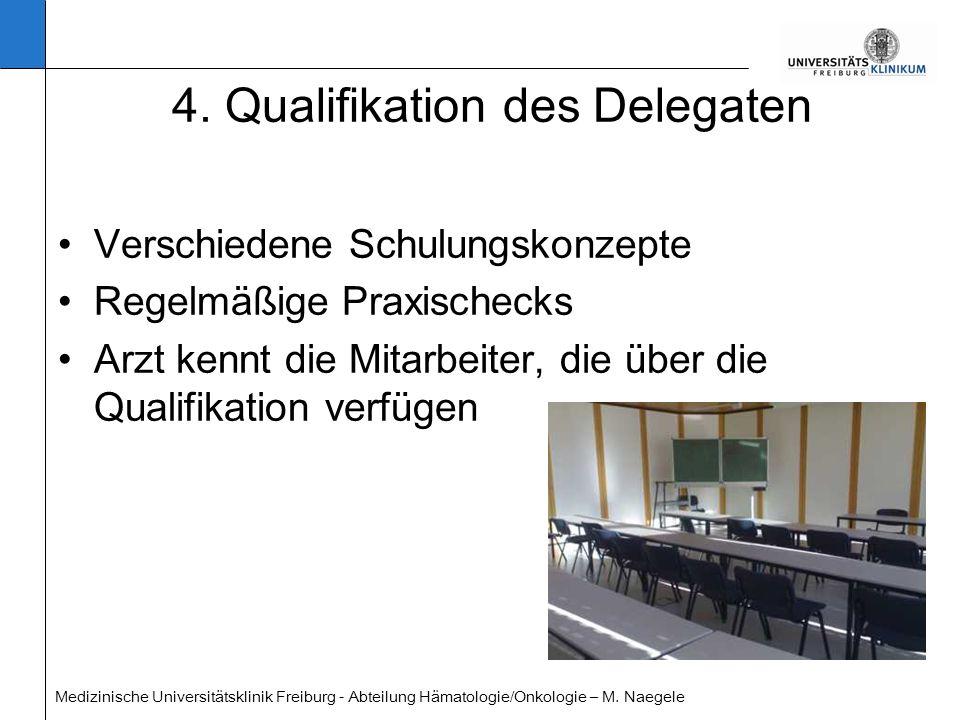 Medizinische Universitätsklinik Freiburg - Abteilung Hämatologie/Onkologie – M. Naegele 4. Qualifikation des Delegaten Verschiedene Schulungskonzepte