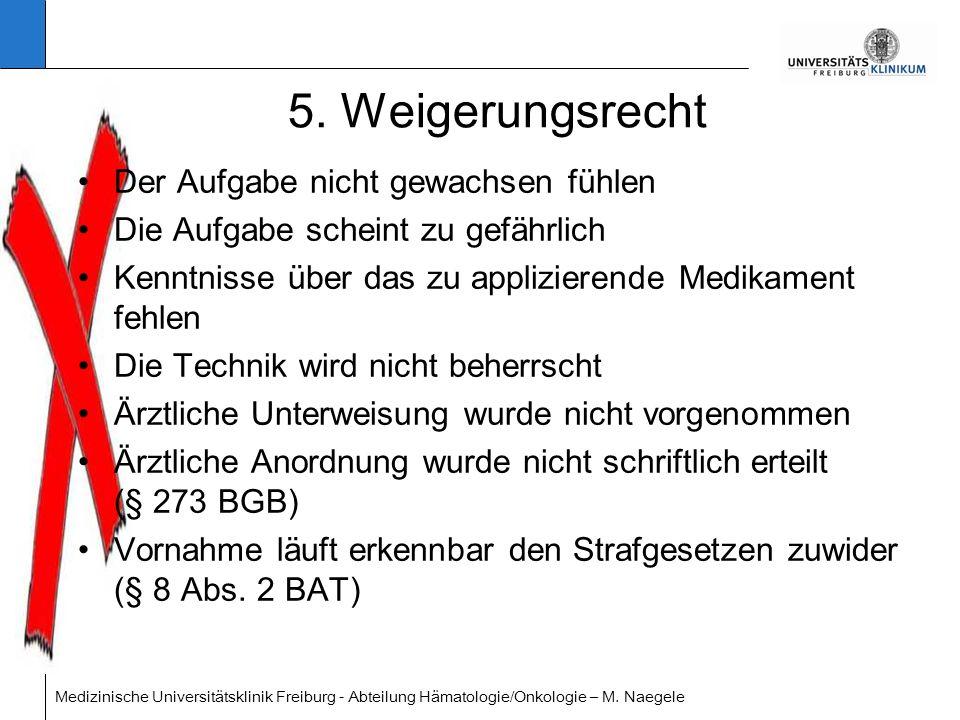 Medizinische Universitätsklinik Freiburg - Abteilung Hämatologie/Onkologie – M. Naegele 5. Weigerungsrecht Der Aufgabe nicht gewachsen fühlen Die Aufg