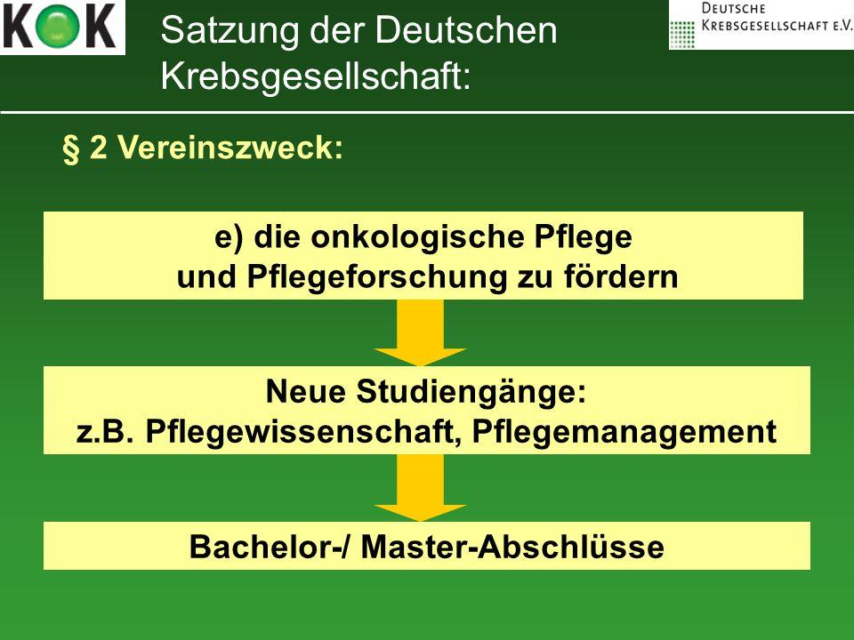 Satzung der Deutschen Krebsgesellschaft: § 2 Vereinszweck: e) die onkologische Pflege und Pflegeforschung zu fördern Neue Studiengänge: z.B. Pflegewis
