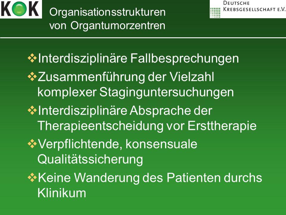 Organisationsstrukturen von Organtumorzentren Interdisziplinäre Fallbesprechungen Zusammenführung der Vielzahl komplexer Staginguntersuchungen Interdi