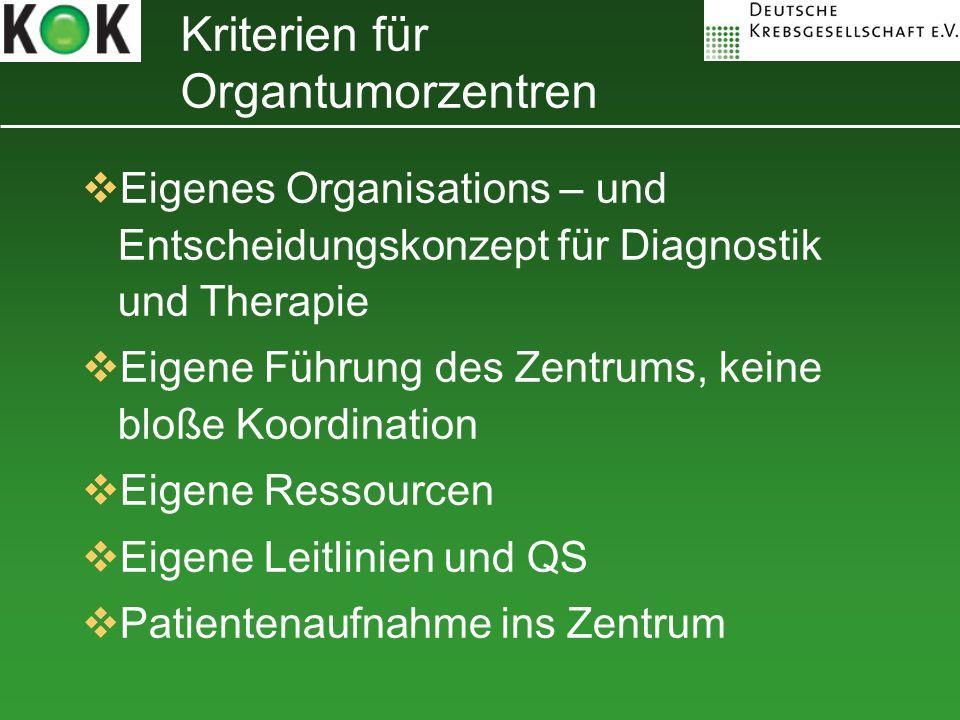Eigenes Organisations – und Entscheidungskonzept für Diagnostik und Therapie Eigene Führung des Zentrums, keine bloße Koordination Eigene Ressourcen E
