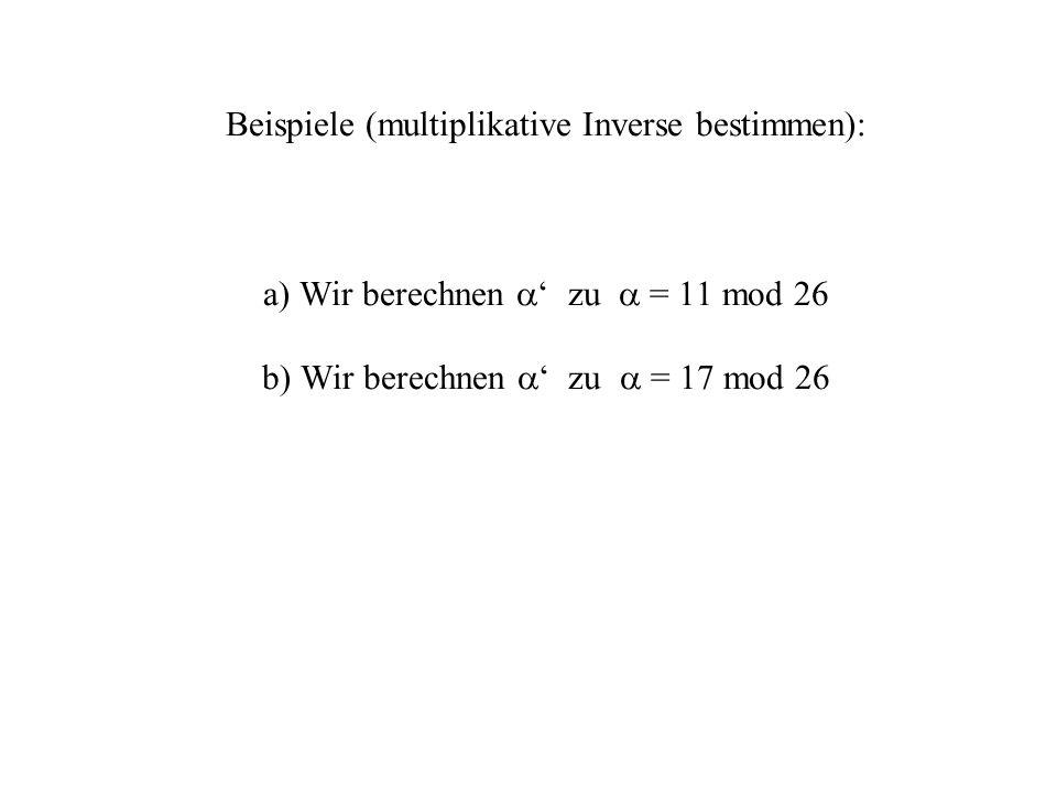 Euklidischer Algorithmus – zugrundeliegende Idee Bestimmung des ggT(792; 75):Die zugrundeliegende Idee: Sei a = q b + r mit a, b, q, r IN 0 0 r b-1 792 = 10 75 + 42 Dann ist ggT(a;b) = ggT(b;r).