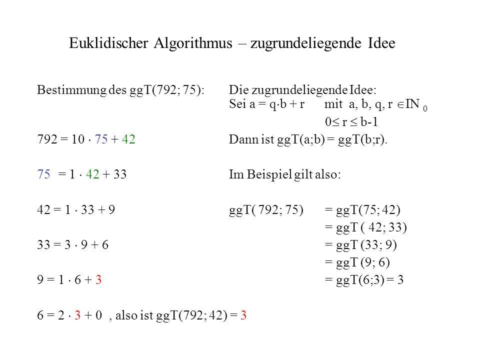 Euklidischer Algorithmus – zugrundeliegende Idee Bestimmung des ggT(792; 75):Die zugrundeliegende Idee: Sei a = q b + r mit a, b, q, r IN 0 0 r b-1 79