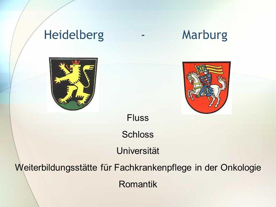 Heidelberg - Marburg Fluss Schloss Universität Weiterbildungsstätte für Fachkrankenpflege in der Onkologie Romantik