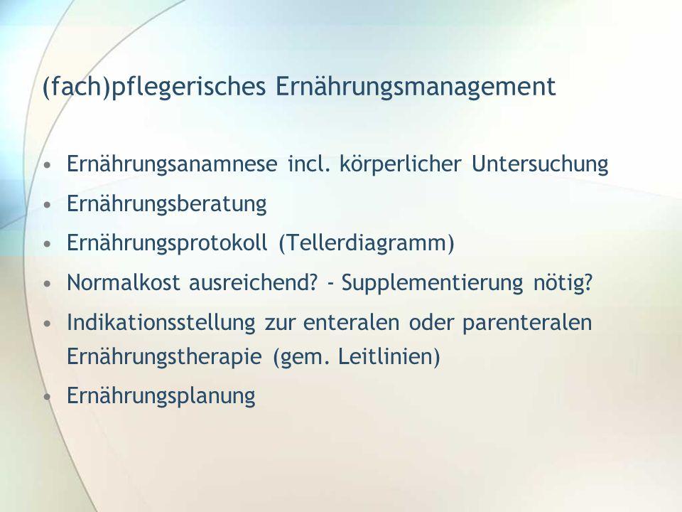(fach)pflegerisches Ernährungsmanagement Ernährungsanamnese incl. körperlicher Untersuchung Ernährungsberatung Ernährungsprotokoll (Tellerdiagramm) No