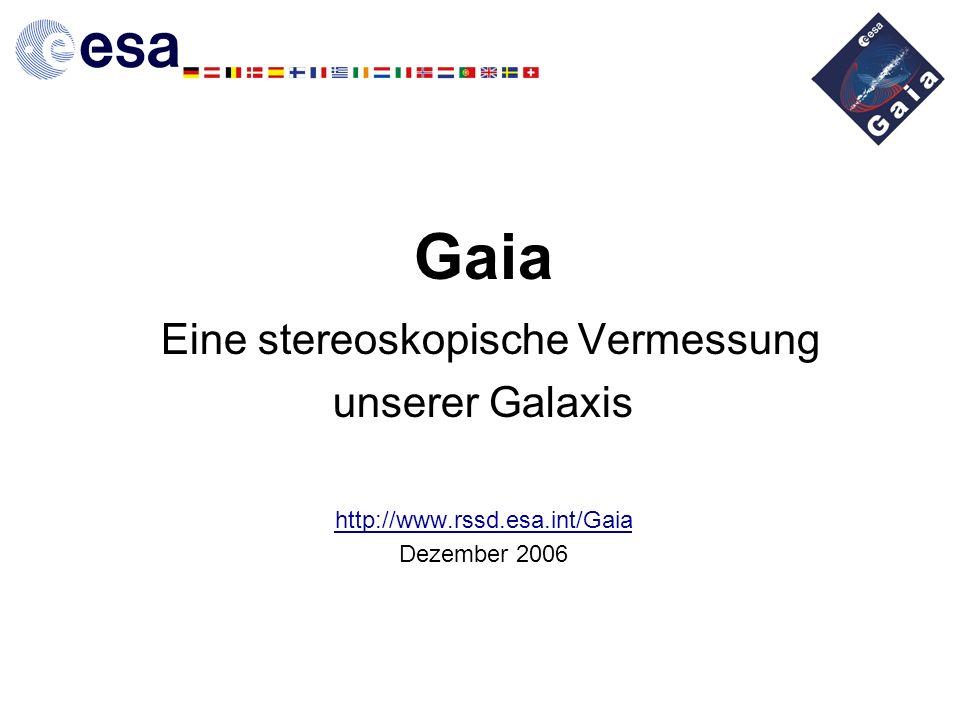 2 Gaia: Anforderungen Astrometrie (V < 20): –Vollständigkeit bis 20 mag (an-Bord-Detektion) 1 Milliarde Sterne –Genauigkeit: 10–25 Mikrobogensekunden bei 15 mag (Hipparcos: 1 Millibogensekunde bei 9 mag) –Himmelsabtastender Satellit, zwei Blickrichtungen Globale Astrometrie, mit optimaler Ausnutzung der Beobachtungszeit –Datenauswertung: globale astrometrische Reduktion (wie bei Hipparcos) Photometrie (V < 20): –Astrophysikalische Sternparameter (niedrige Dispersion) + astrometrischer Farbfehler T eff ~ 200 K, log g, [Fe/H] auf 0,2 dex genau, Extinktion Radialgeschwindigkeiten (V < 16–17): –Anwendungen: Dritte Komponente der Raumbewegung, perspektivische Beschleunigung Stellardynamik, Sternpopulationen, Doppelsterne Spektren: chemische Zusammensetzung, Rotation der Sterne –Messprinzip: spaltlose Spektroskopie im Bereich des Calcium-Tripletts (847–874 nm)