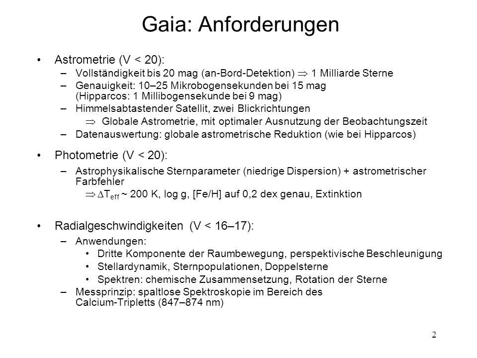 13 Prinzip der Himmelsabtastung Rotationsachse: 45 o zur Sonne Abtastrate: 60 Bogensek./Sek.