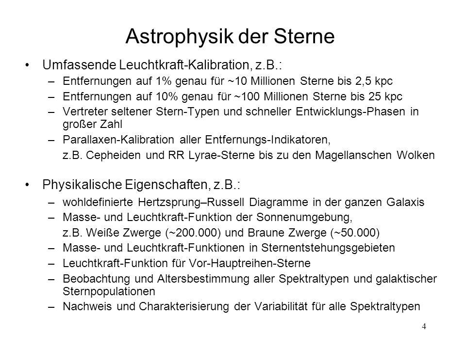 4 Astrophysik der Sterne Umfassende Leuchtkraft-Kalibration, z.B.: –Entfernungen auf 1% genau für ~10 Millionen Sterne bis 2,5 kpc –Entfernungen auf 1