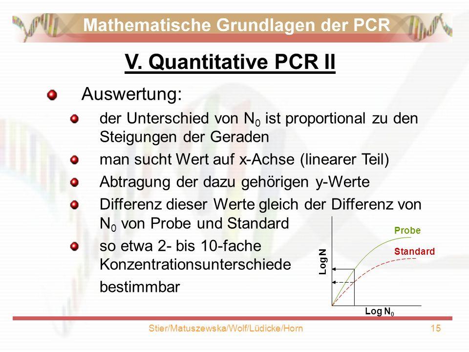 Stier/Matuszewska/Wolf/Lüdicke/Horn15 Auswertung: der Unterschied von N 0 ist proportional zu den Steigungen der Geraden man sucht Wert auf x-Achse (linearer Teil) Abtragung der dazu gehörigen y-Werte Differenz dieser Werte gleich der Differenz von N 0 von Probe und Standard so etwa 2- bis 10-fache Konzentrationsunterschiede bestimmbar V.