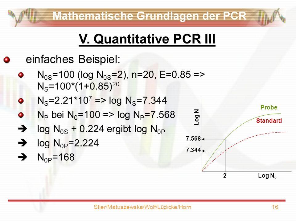 Stier/Matuszewska/Wolf/Lüdicke/Horn16 einfaches Beispiel: N 0S =100 (log N 0S =2), n=20, E=0.85 => N S =100*(1+0.85) 20 N S =2.21*10 7 => log N S =7.344 N P bei N 0 =100 => log N P =7.568 log N 0S + 0.224 ergibt log N 0P log N 0P =2.224 N 0P =168 V.