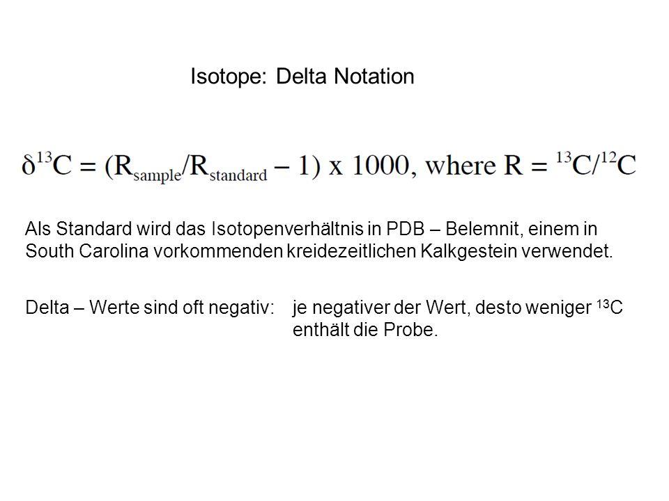 Isotope: Delta Notation Als Standard wird das Isotopenverhältnis in PDB – Belemnit, einem in South Carolina vorkommenden kreidezeitlichen Kalkgestein