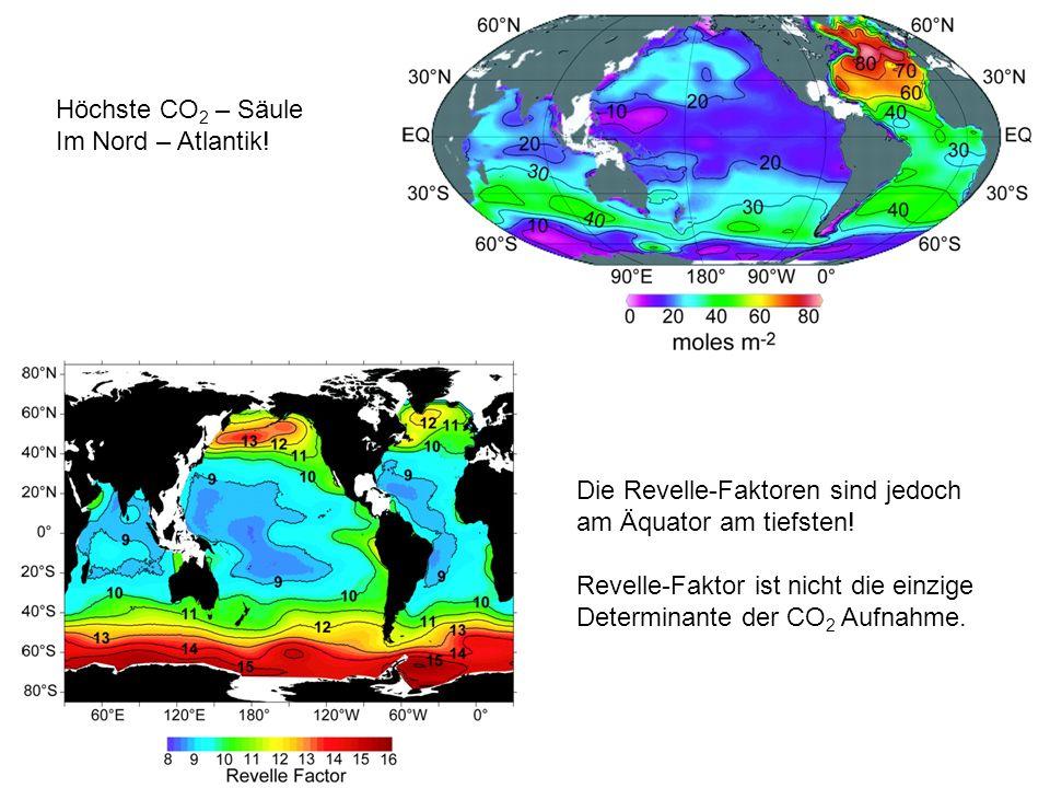 Höchste CO 2 – Säule Im Nord – Atlantik! Die Revelle-Faktoren sind jedoch am Äquator am tiefsten! Revelle-Faktor ist nicht die einzige Determinante de