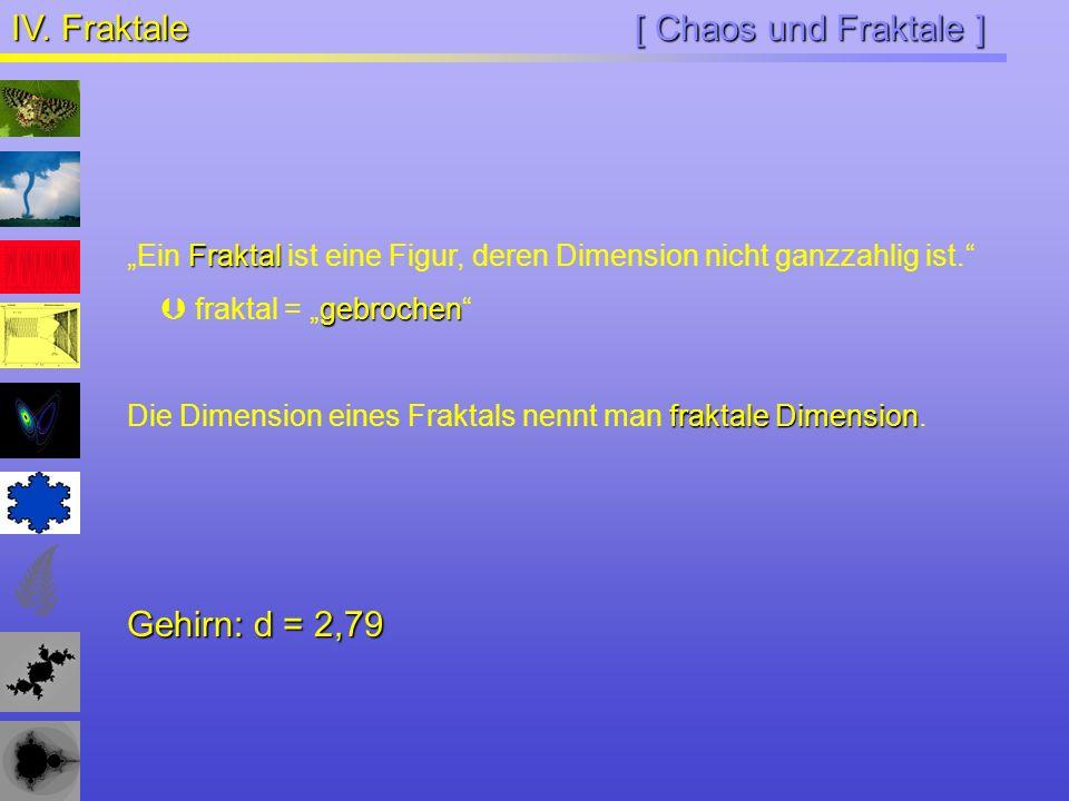 [ Chaos und Fraktale ] IV. Fraktale Fraktal Ein Fraktal ist eine Figur, deren Dimension nicht ganzzahlig ist. gebrochen fraktal = gebrochen fraktale D