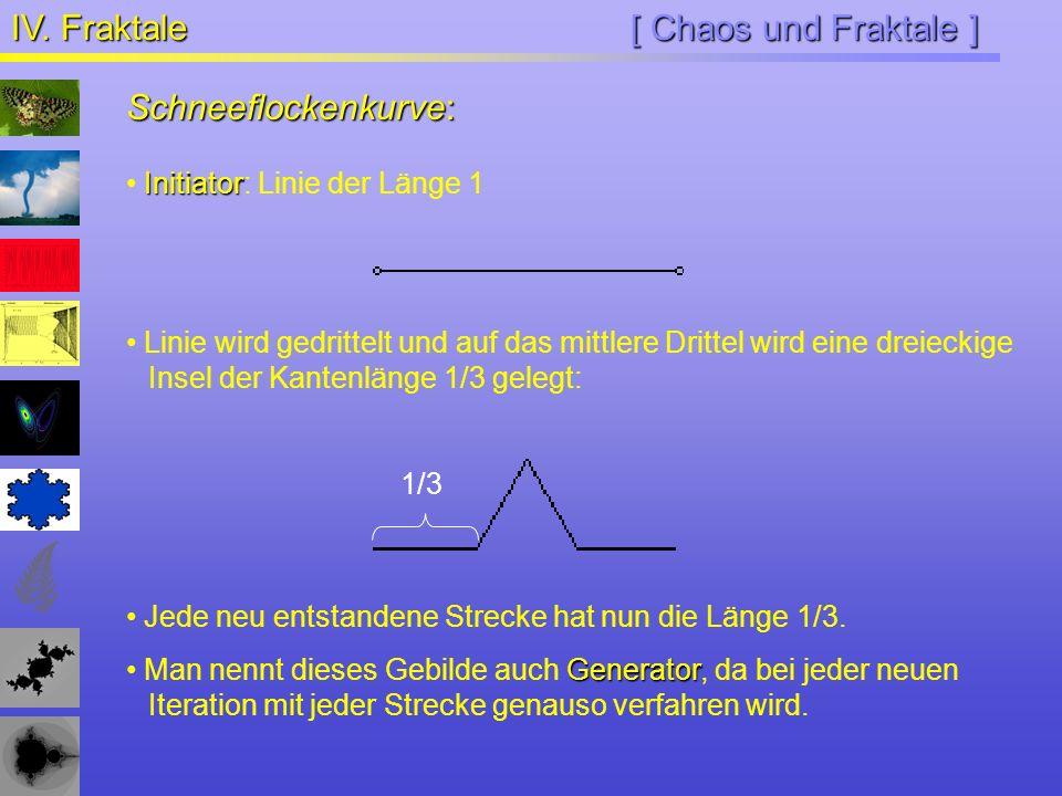 [ Chaos und Fraktale ] IV. Fraktale Schneeflockenkurve: Jede neu entstandene Strecke hat nun die Länge 1/3. Generator Man nennt dieses Gebilde auch Ge