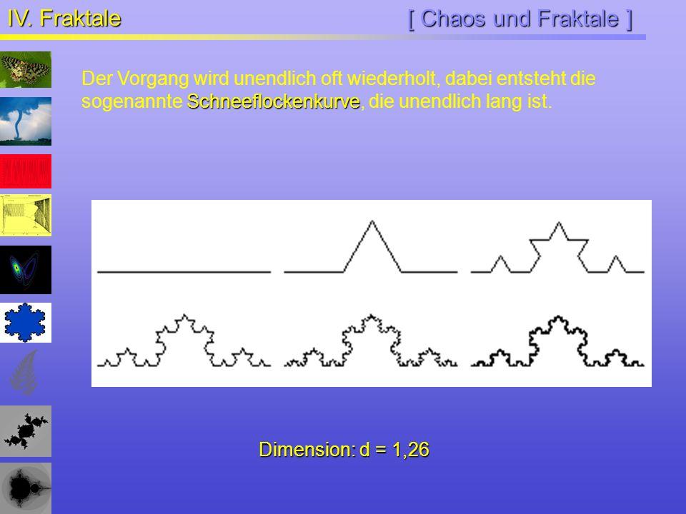 [ Chaos und Fraktale ] IV. Fraktale Schneeflockenkurve Der Vorgang wird unendlich oft wiederholt, dabei entsteht die sogenannte Schneeflockenkurve, di
