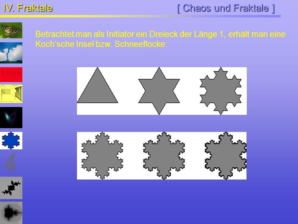 [ Chaos und Fraktale ] IV. Fraktale Betrachtet man als Initiator ein Dreieck der Länge 1, erhält man eine Kochsche Insel bzw. Schneeflocke: