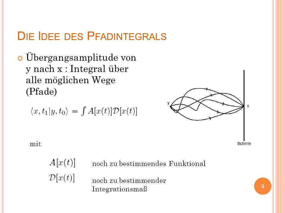 D IE I DEE DES P FADINTEGRALS Übergangsamplitude von y nach x : Integral über alle möglichen Wege (Pfade) mit noch zu bestimmendes Funktional noch zu bestimmender Integrationsmaß 5