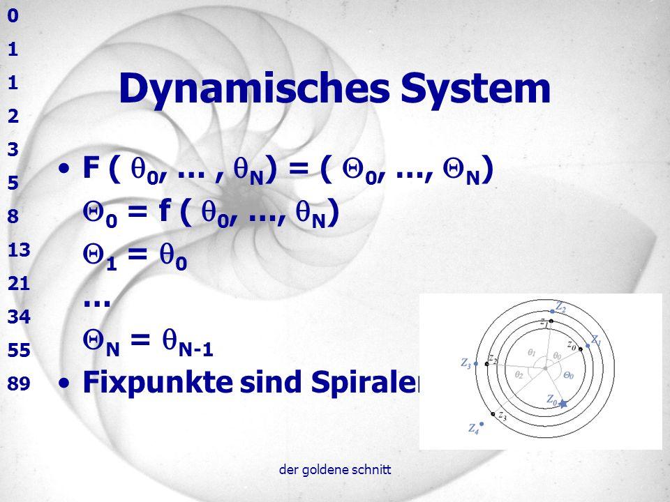der goldene schnitt Dynamisches System F ( 0, …, N ) = ( 0, …, N ) 0 = f ( 0, …, N ) 1 = 0 … N = N-1 Fixpunkte sind Spiralen 0 1 2 3 5 8 13 21 34 55 8