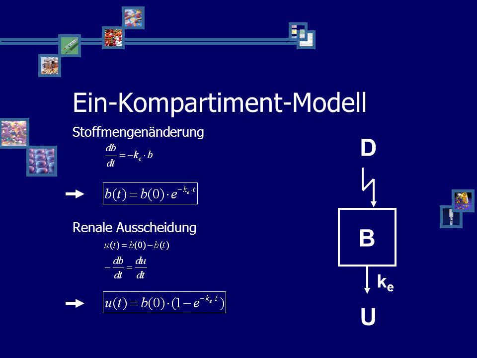 Ein-Kompartiment-Modell Stark vereinfacht Ganzer Körper ist ein Kompartiment (B) Konzentration im Blut repräsentativ Schnelle Applikation – schnelle V