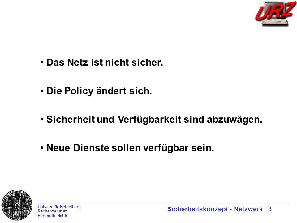 Universität Heidelberg Rechenzentrum Hartmuth Heldt Sicherheitskonzept - Netzwerk 3 Das Netz ist nicht sicher.