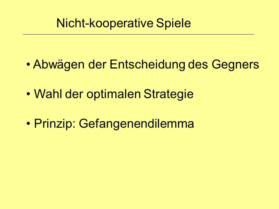 Nicht-kooperative Spiele Abwägen der Entscheidung des Gegners Wahl der optimalen Strategie Prinzip: Gefangenendilemma
