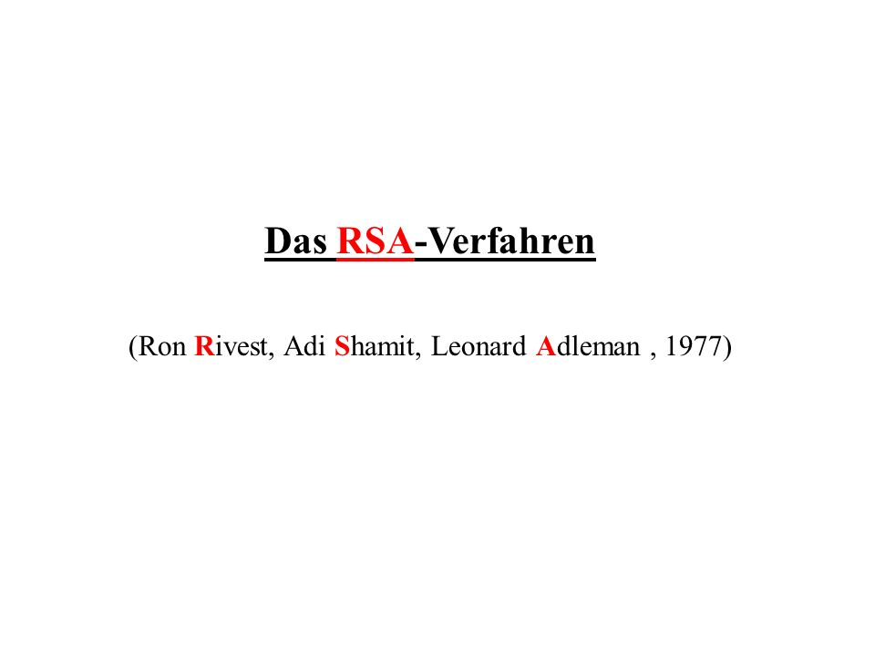 Das RSA-Verfahren (Ron Rivest, Adi Shamit, Leonard Adleman, 1977)