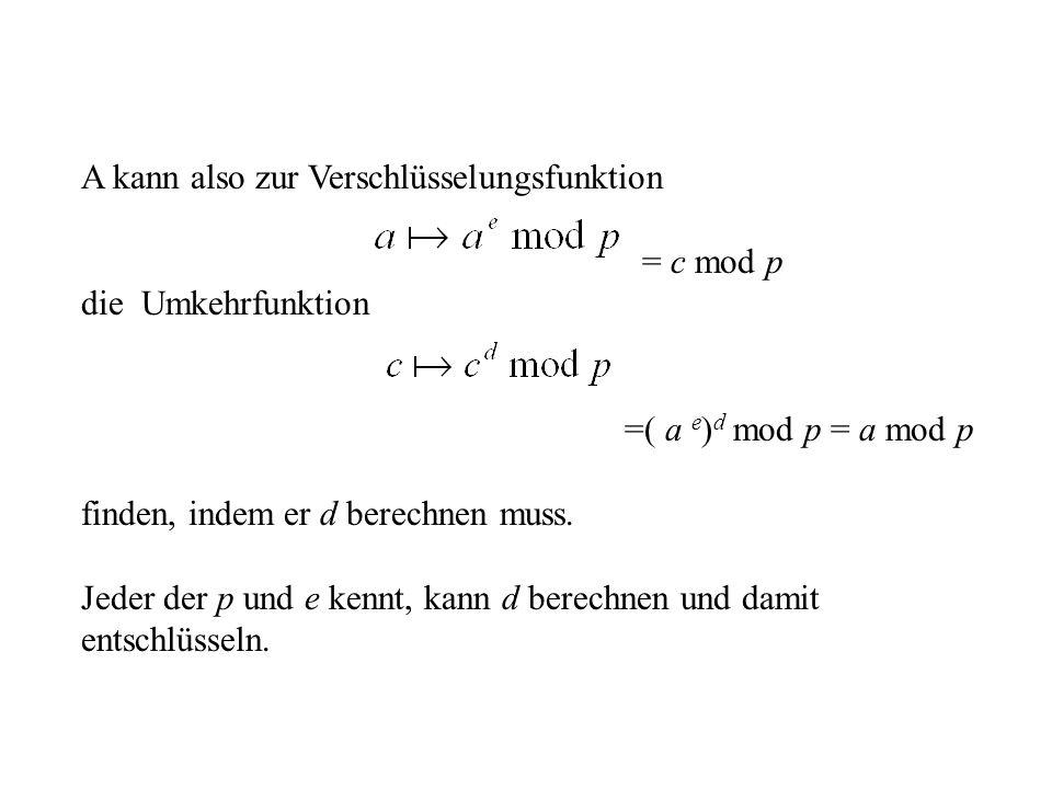A kann also zur Verschlüsselungsfunktion = c mod p die Umkehrfunktion =( a e ) d mod p = a mod p finden, indem er d berechnen muss. Jeder der p und e