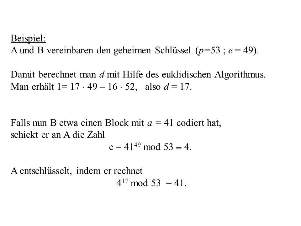 Beispiel: A und B vereinbaren den geheimen Schlüssel (p=53 ; e = 49). Damit berechnet man d mit Hilfe des euklidischen Algorithmus. Man erhält 1= 17 4