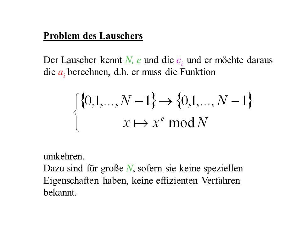 Problem des Lauschers Der Lauscher kennt N, e und die c i und er möchte daraus die a i berechnen, d.h. er muss die Funktion umkehren. Dazu sind für gr