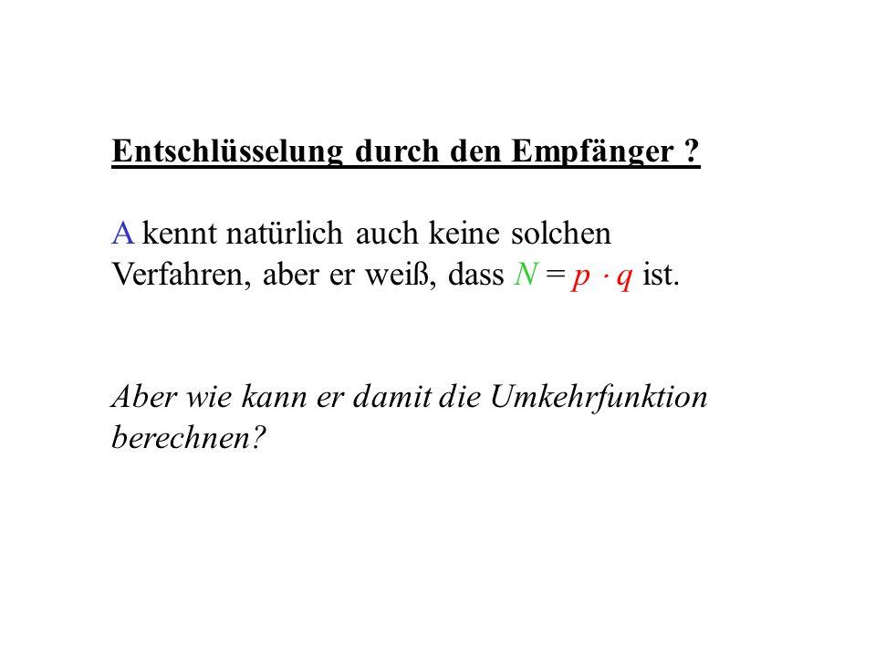 Vereinfachung des Problems Angenommen N sei nicht das Produkt zweier Primzahlen, sondern N sei zunächst selbst eine Primzahl.