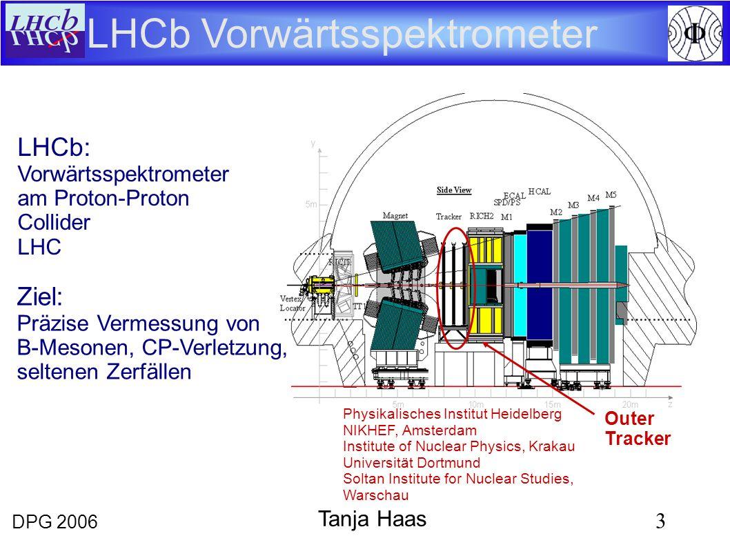 DPG 2006 3 Tanja Haas LHCb Vorwärtsspektrometer Ziel: Präzise Vermessung von B-Mesonen, CP-Verletzung, seltenen Zerfällen Outer Tracker LHCb: Vorwärts