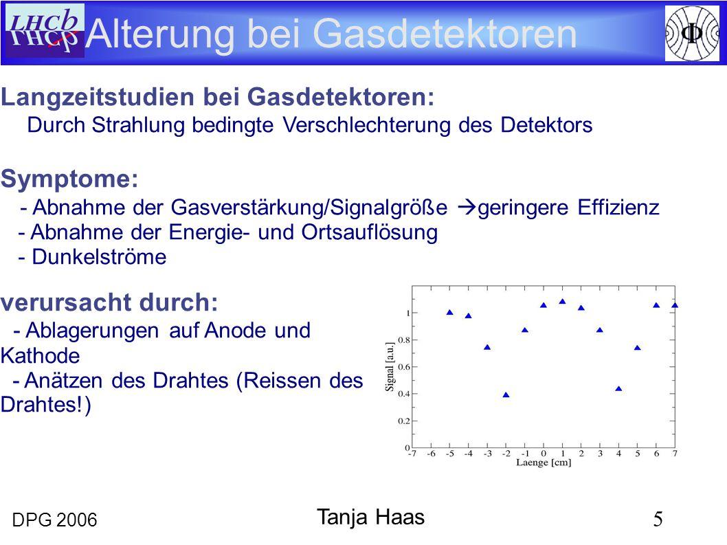 DPG 2006 5 Tanja Haas Alterung bei Gasdetektoren 0.60 C/cm ArCO 2 CF 4 Langzeitstudien bei Gasdetektoren: Durch Strahlung bedingte Verschlechterung des Detektors Symptome: - Abnahme der Gasverstärkung/Signalgröße geringere Effizienz - Abnahme der Energie- und Ortsauflösung - Dunkelströme verursacht durch: - Ablagerungen auf Anode und Kathode - Anätzen des Drahtes (Reissen des Drahtes!)
