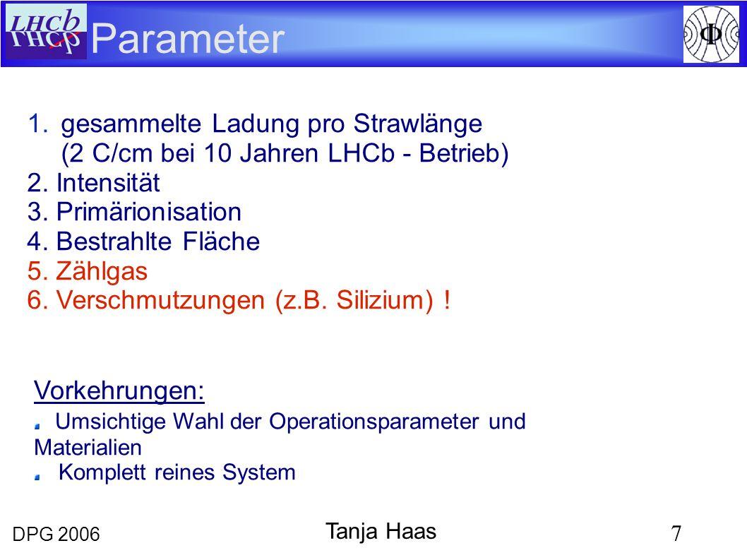 DPG 2006 7 Tanja Haas 1.gesammelte Ladung pro Strawlänge (2 C/cm bei 10 Jahren LHCb - Betrieb) 2. Intensität 3. Primärionisation 4. Bestrahlte Fläche