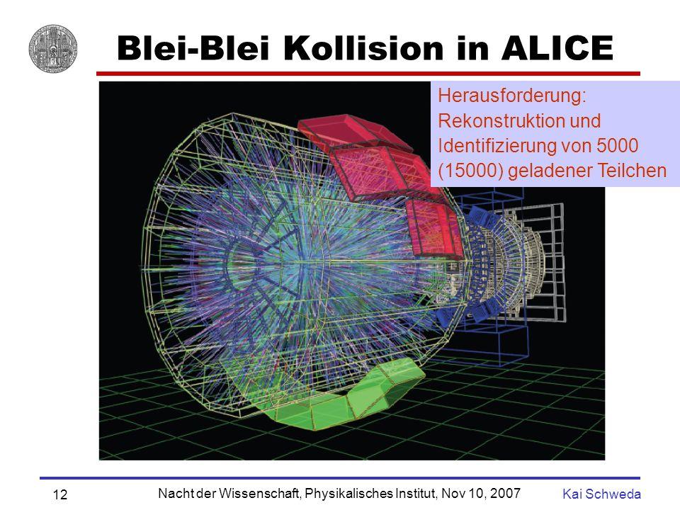 Nacht der Wissenschaft, Physikalisches Institut, Nov 10, 2007 Kai Schweda 11 ALICE beim LHC TPC TRD Bis zu 60000 geladene Teilchen PetaByte (10 15 ) pro Jahr 1000 Wissenschaftler, 30 Nationen