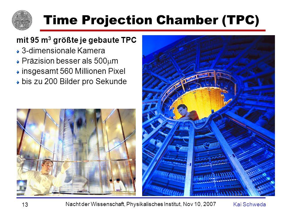 Nacht der Wissenschaft, Physikalisches Institut, Nov 10, 2007 Kai Schweda 12 Blei-Blei Kollision in ALICE Herausforderung: Rekonstruktion und Identifizierung von 5000 (15000) geladener Teilchen