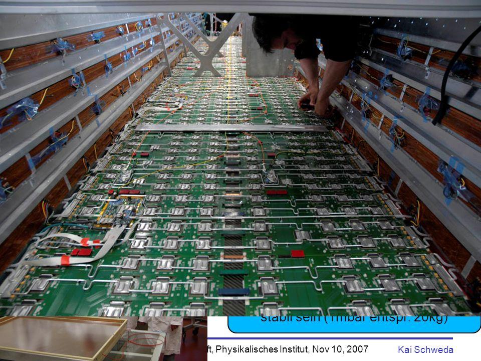 Nacht der Wissenschaft, Physikalisches Institut, Nov 10, 2007 Kai Schweda 15 Transition Radiation Detector (TRD) - 540 Kammern (gefüllt mit Xenon-Gas) - in 18 Supermodulen (8m lang) - aktive Fläche 750 m 2 - Gesamtgewicht 30t - 30 Millionen Pixel - 275 000 CPUs, 6.5 s pro Bild -100 000 Bilder pro Sekunde Identifiziert Elektronen (Positronen) !