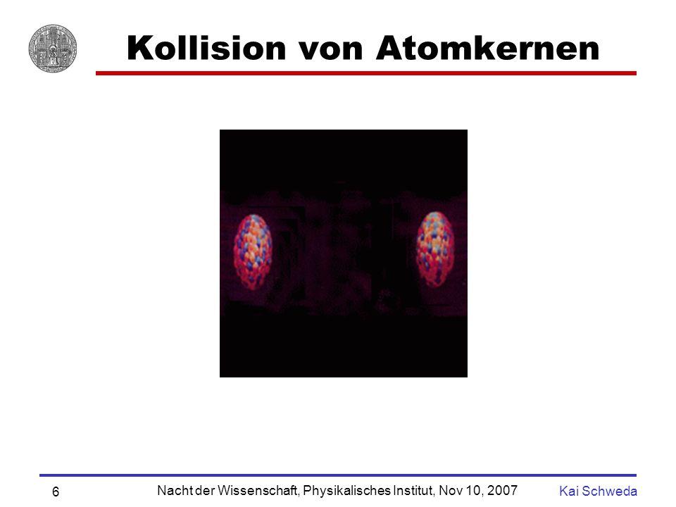 Nacht der Wissenschaft, Physikalisches Institut, Nov 10, 2007 Kai Schweda 5 Zustände von Materie Q G P Kompression Quark Gluon Plasma - Festkörper Atom Atomkern Protonen und Neutronen bestehen aus Quarks Heizen