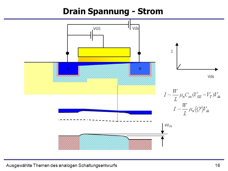 16Ausgewählte Themen des analogen Schaltungsentwurfs Drain Spannung - Strom NN N N Vds eV ds Vds I VGS
