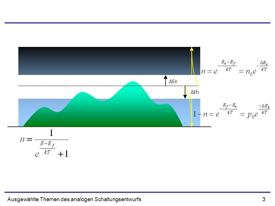14Ausgewählte Themen des analogen Schaltungsentwurfs Drain Spannung - Strom NN NN Vds Querschnitt Ladungsdichte Mobilität E-Feld Breite/Lange des Gates VGS Vds sehr klein