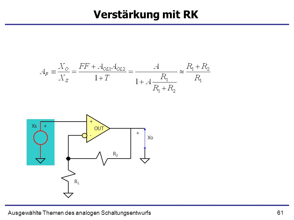 61Ausgewählte Themen des analogen Schaltungsentwurfs Verstärkung mit RK + - OUT R1R1 R2R2 Xs+ Xo +