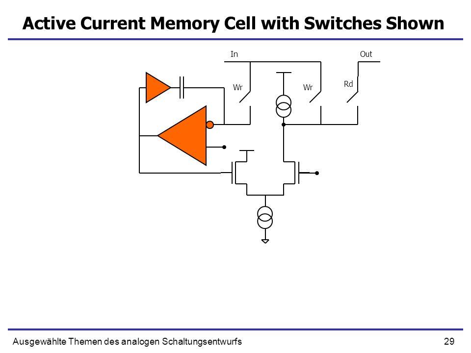 29Ausgewählte Themen des analogen Schaltungsentwurfs Active Current Memory Cell with Switches Shown Wr Rd InOut