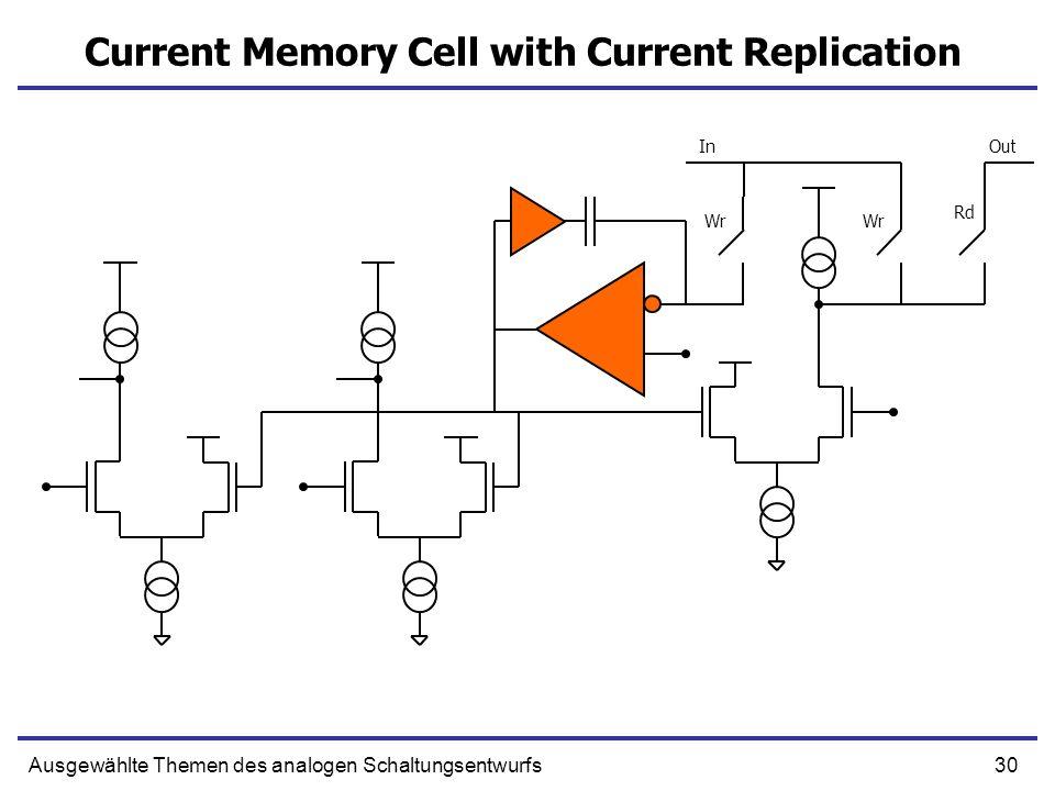 30Ausgewählte Themen des analogen Schaltungsentwurfs Current Memory Cell with Current Replication Wr Rd InOut