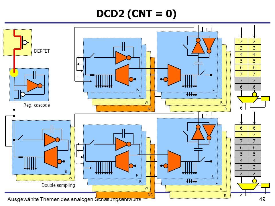 49Ausgewählte Themen des analogen Schaltungsentwurfs DCD2 (CNT = 0) Double sampling R R W NC L L R R R W R L L R R Reg.